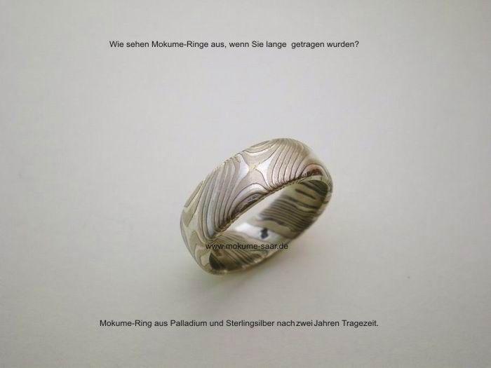 Mokume Gane Ring mit Sternenmuster 2 Jahre getragen