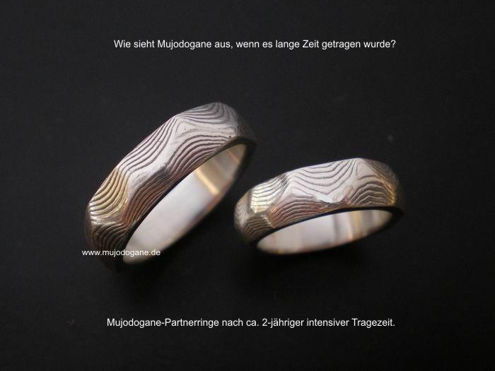 Mujodogane-Partnerringe 2 Jahre getragen