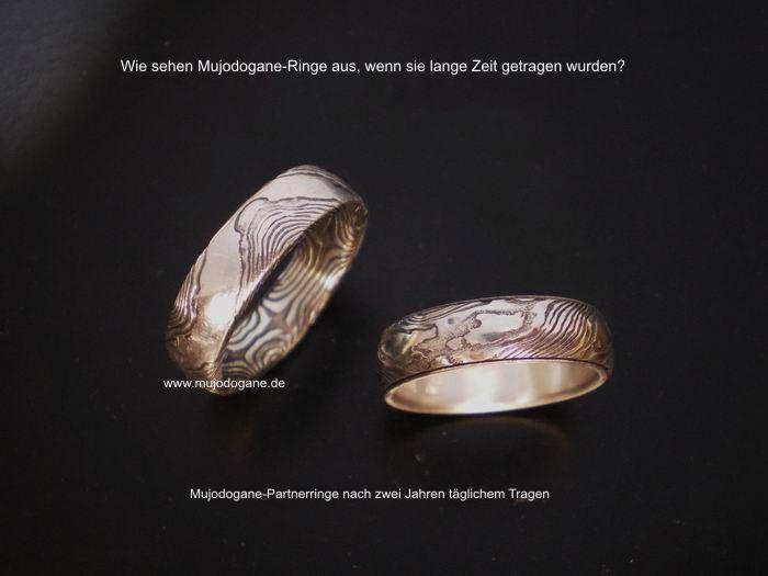 Mujodogane Partnerringe mit wellenmuster 2 Jahre getragen