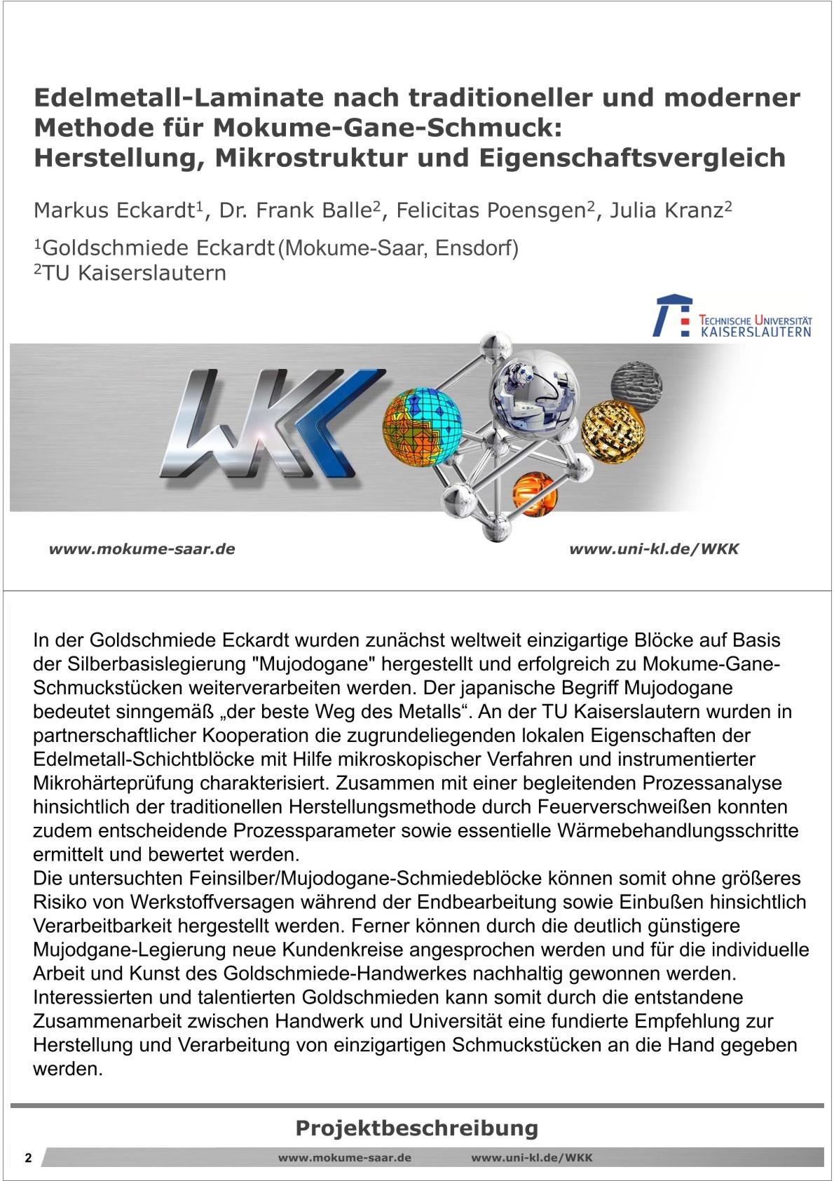1. Seite wissenschaftliche Ausarbeitung Herstellung von Edelmetall-Laminaten Mokume Gane Technik