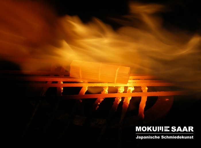 Mokume Gane Schichtblock im Feuer