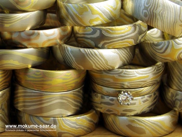 Sehr viele unterschiedliche Mokume Gane Ringe