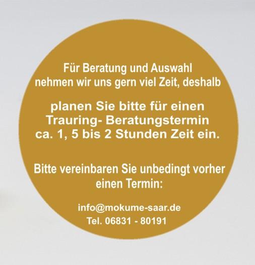 Bild mit Mokume Gane Eheringen und Textinformation zu Beratungsterminen