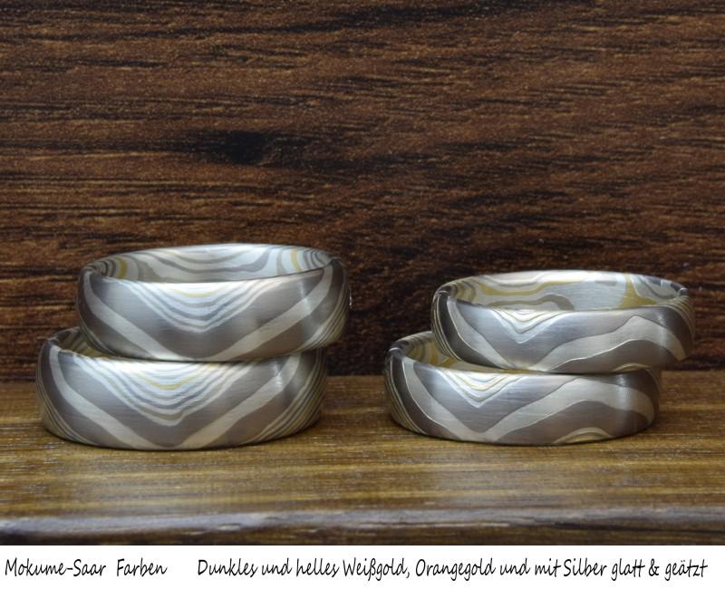 Zwei Trauring-Paare mit glatter und geätzter Musterfläche