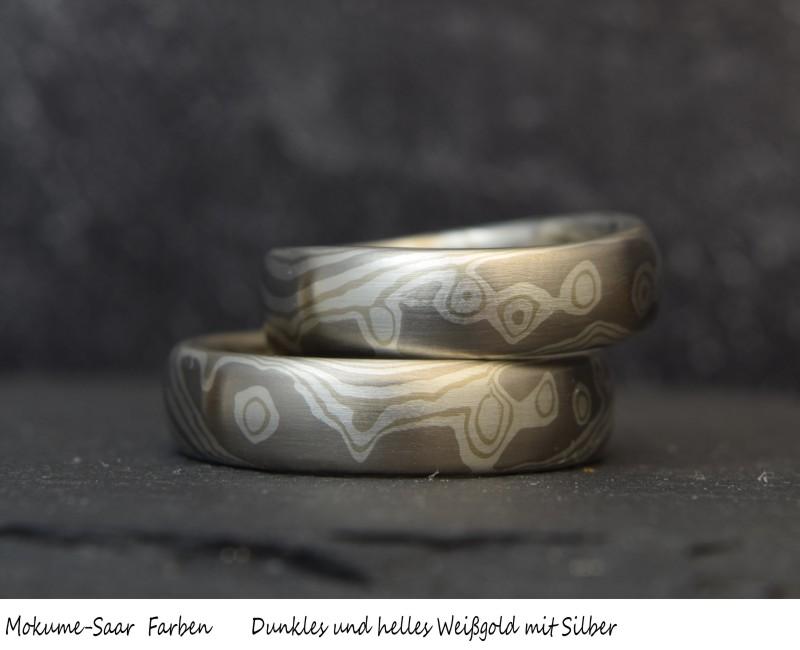 1 Paar Mokume Gane Trauringe mit Muster aus Weißgold und Silber